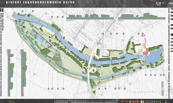 Projekt wyspy na rzece w Krzepicach