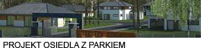 Projekt osiedla domów jednorodzinnych z parkiem dla mieszkańców
